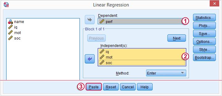 SPSS Regression Menu 2
