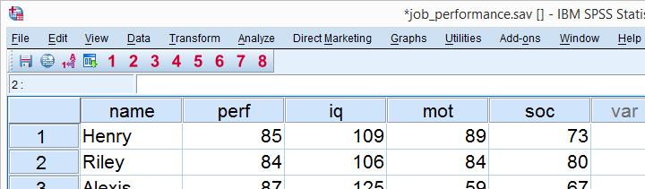 SPSS Regression Line - Data View