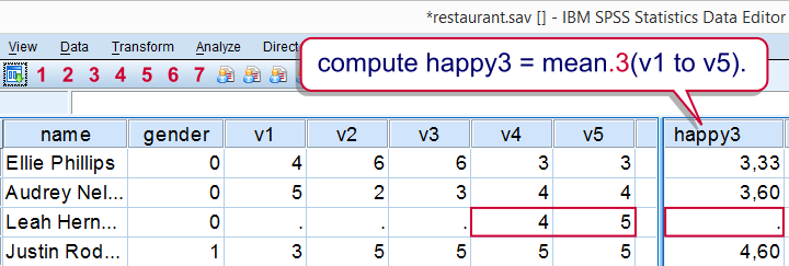 Computing Means in SPSS While Excluding Missing Values